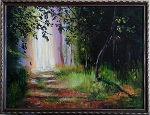 Волшебный лес-масло,холст, авг.2015- по мотивам МК Ольги Базановой.